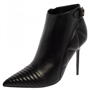 Burberry Black Leather Trench Alexandra Pointed Toe Ankle Booties Size 40 -