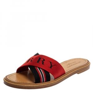 Burberry Red/Black Canvas Foley Logo Stripe Crisscross Slide Sandals Size 40