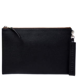 Burberry Black Leather Document Holder