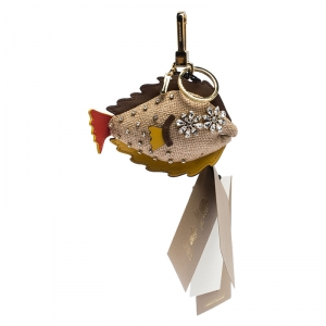 Burberry Multicolor Jute and Leather Sole Fish Charm