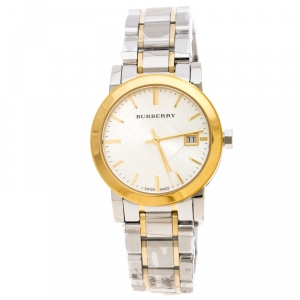 Burberry Silver Gold Plated Stainless Steel BU9115 Women's Wristwatch 34MM