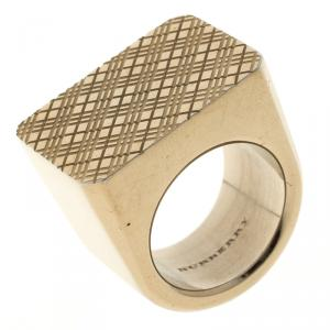 Burberry Check Pattern Gold Tone Chunky Ring Size 53