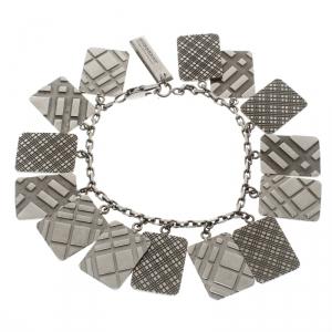 Burberry Check Pattern Engraved & Embossed Multi Tag Gun Metal Tone Bracelet