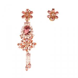 Burberry Flower Crystal Gold Tone Clip-on Asymmetric Stud Drop Earrings