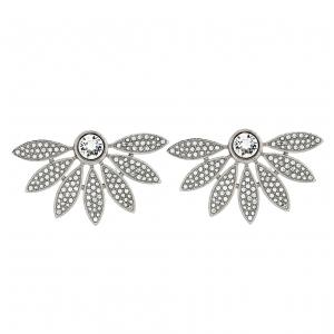 Burberry Crystal Studded Half Daisy Silver Tone Earrings
