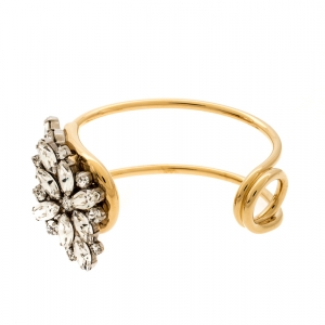 Burberry Daisy Crystal Gold Tone Open Cuff Bracelet