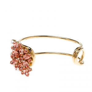 Burberry Daisy Crystal Gold Tone Open Cuff Bracelet