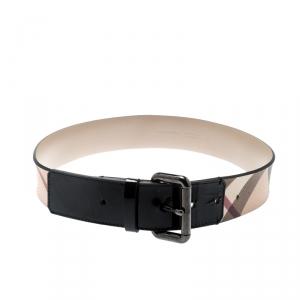 Burberry Beige/Black Nova Check PVC and Leather Belt 80CM
