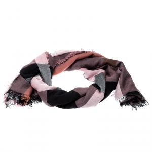 Burberry Black and Pink Nova Check Gauze Fringed Edge Scarf