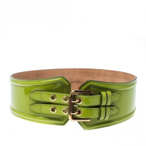 Burberry Green Patent Leather Double Buckle Waist Belt 75cm