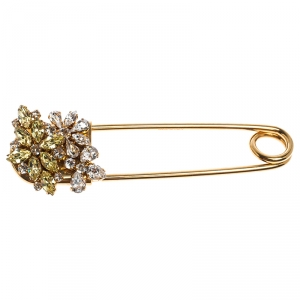 Burberry Gold Plated Crystal Daisy Kilt Pin Brooch