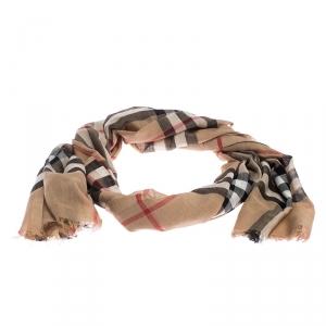 Burberry Beige Novacheck Silk and Wool Stole