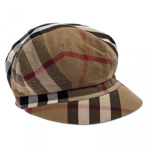 Burberry Beige Novacheck Cotton Newsboy Cap S
