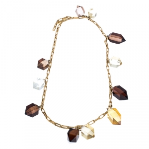 Burberry Prorsum Multicolor Geometic Resin Crystal Gold Tone Chain Necklace