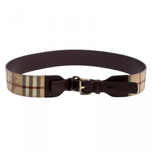 Burberry Beige Haymarket Check Coated Canvas and Leather Buckle Belt 90CM
