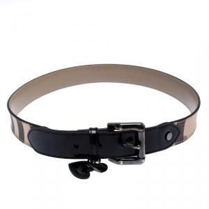 Burberry Beige/Black Nova Check PVC and Patent Leather Heart Charm Belt 80CM