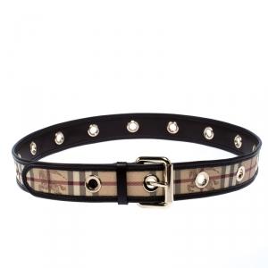 Burberry Brown/Beige Haymarket Check Coated Canvas Eyelet Belt Size 100