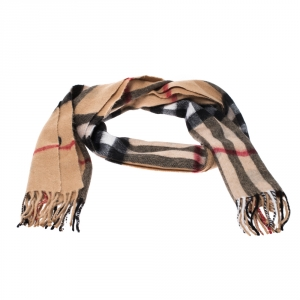 Burberry Beige Heart Print Giant Check Classic Cashmere Scarf
