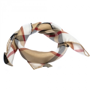Burberry Beige House Check Print Silk Square Scarf