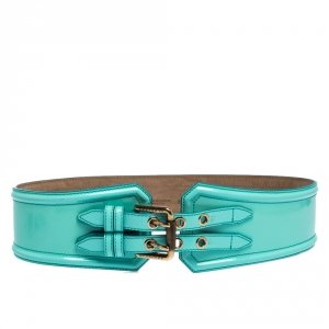 Burberry Turquoise Patent Leather Double Buckle Waist Belt 80CM
