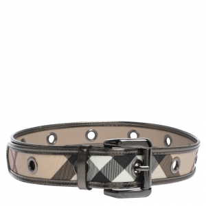 Burberry Metallic/Beige Check PVC and Patent Leather Eyelet Buckle Belt 80CM