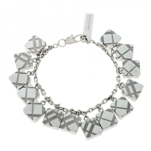 Burberry Textured Multi Charm Silver Tone Bracelet