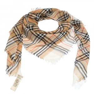 Burberry Two Tone Vintage Check Cotton Square Scarf