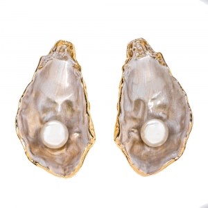 Burberry Faux Pearl Gold Plated Mariner Oyster Drop Earrings