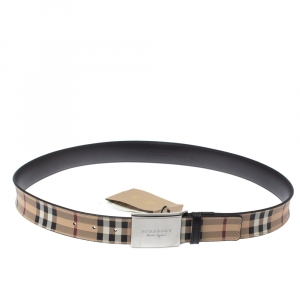 Burberry Beige House Check Coated Canvas and Leather Belt 95CM
