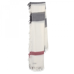 Burberry White House Check Wool Fringed Square Scarf