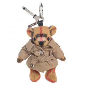 Burberry Brown Cashmere Thomas Bear with Trench Coat Keyring/ Bag Charm