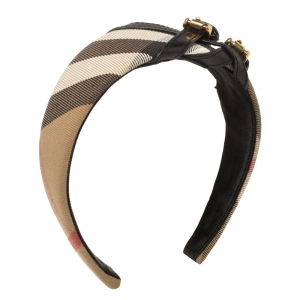 Burberry Beige House Check Canvas Leather Buckle Trim Headband