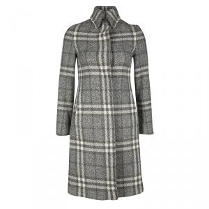 Burberry London Multicolor Checked Wool Long Coat XS
