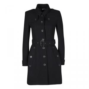 Burberry Brit Black Wool Cashmere Belted Trench Coat XS