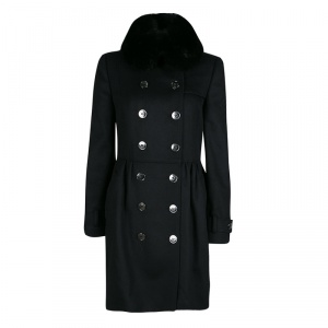 Burberry  London Black Wool and Cashmere Fur Collar Detail Double Breasted OverCoat S
