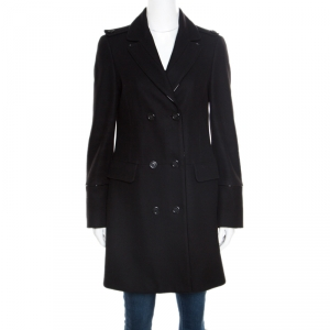 Burberry London Black Wool and Cashmere Leather Trim Double Breasted Coat S