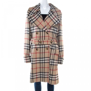 Burberry London Beige Checked Wool Double Breasted Belted Blackheath Coat L