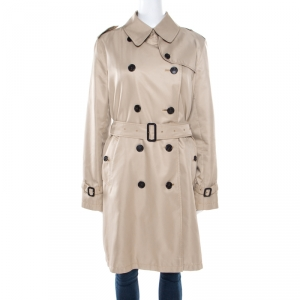 Burberry Beige Wool Camel Hair Lined Belted Double Breasted Trench Coat M