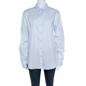 Burberry Brit City Blue Cotton Stretch Button Front Shirt XL - used