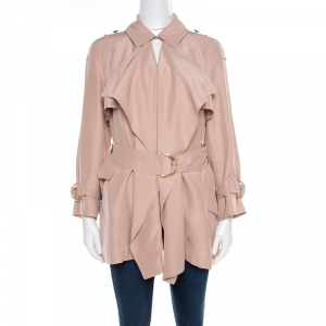 Burberry Pink Draped Silk Belted Open Front Trench Coat XS