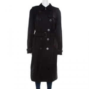 Burberry London Black Wool Double Breasted Overcoat M