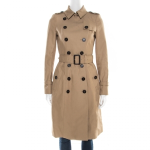Burberry Prorsum Beige Cotton Double Breasted Belted Trench Coat S