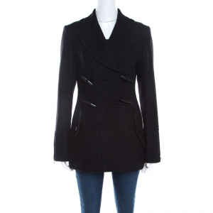 Burberry Brit Black Wool Toggle Closure Detail Double Breasted Coat S
