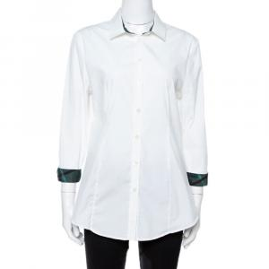 Burberry London White Stretch Cotton Long Sleeve Button Front Shirt M - used