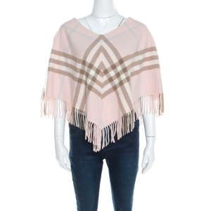 Burberry Pale Pink Novacheck Cashmere Fringed Poncho ( One Size )
