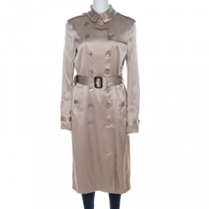 Burberry London Beige Silk Wrap Belted Cuff Trench Coat M