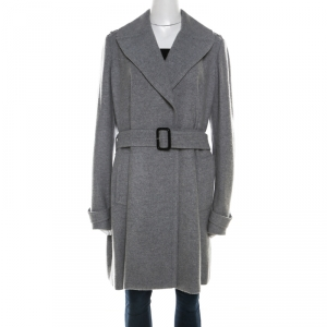 Burberry Grey Cashmere Belted Wrap Mid Length Coat L