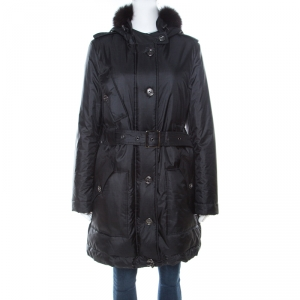 Burberry Black Fur Trim Hooded Puffer Jacket M