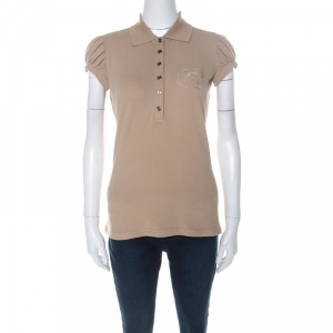 Burberry Beige Cotton Puff Sleeve Polo T-Shirt S - used