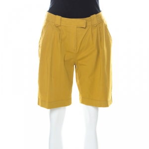 Burberry Mustard Yellow Cotton High Waist Back Buckle Detail Shorts S - used